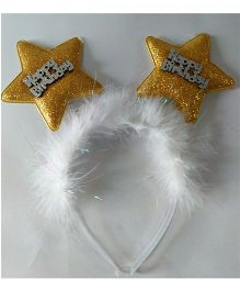 Funcart Happy Birthday Star Feather Hairband - Golden