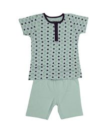 Babyoye Half Sleeves Night Wear Set - Light Blue