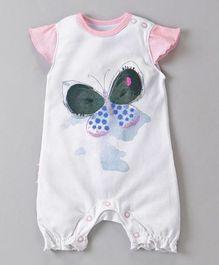Babyoye Butterfly Sleeves Printed Romper - Pink White