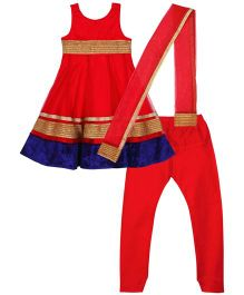 Kriti Sleeveless Salwar Kameez Dupatta Set - Red