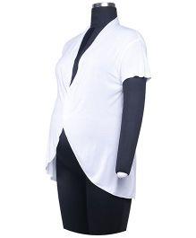 Kriti Western Maternity Short Sleeves Maternity Shrug - White