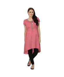 Kriti Ethnic Maternity Kurta With Chest Embroidery - Pink