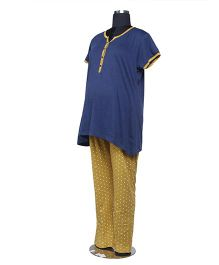 Kriti Comfort Knit Pajama And T-Shirt Set - Navy