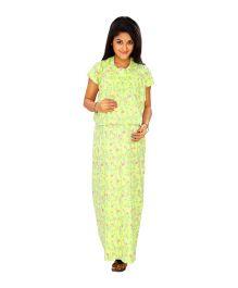 Kriti Comfort Knit Nursing Nighty With Bib - Green