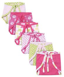 Babyoye Cloth Nappies Pack Of 6 - Pink Green