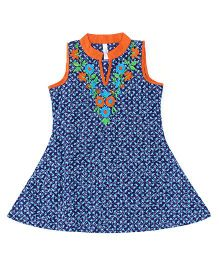 Lil' Posh Sleeveless Kurti Floral Embroidery - Blue