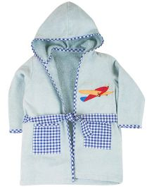 M&M Full Sleeves Hooded Bath Robe Aeroplane Embroidery - Light Blue