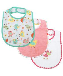 M&M Snap Button Closure Printed Bibs Pack Of 3 - Multicolor