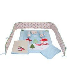 M&M Baby Bedding Set Snowman Print Blue - Set Of 8
