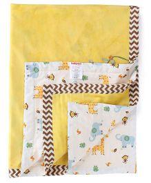 Babyoye Blanket Monkey Embroidery - Yellow