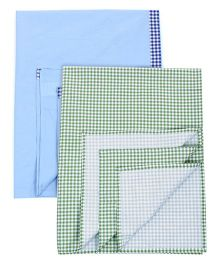 Babyoye Bedsheet Checks Print Blue & Green - Set Of 2