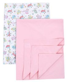 Babyoye Plain & Printed Bedsheet Pink & White - Set Of 2