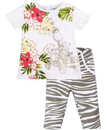 M&M Half Sleeves Printed Top And Zebra Print Leggings Set - White & Grey