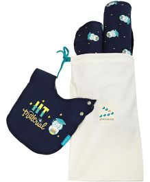 Zeezeezoo Bib Blanket And Burp Cloth Infant Accessory Set - Navy Blue