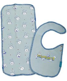 Zeezeezoo Bib And Burp Cloth Infant Accessory Set - Light Blue