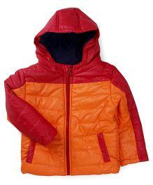 M&M Full Sleeves Quilted Hooded Jacket - Orange & Red