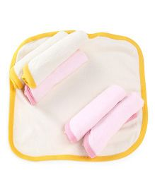 Babypure Facecloth Pack of 6 - White Pink