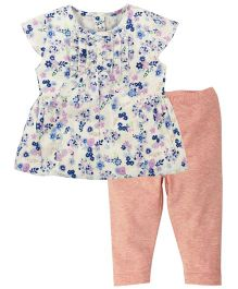 Babyoye Floral Printed Cap Sleeves Top with Pant - Multi Coloured