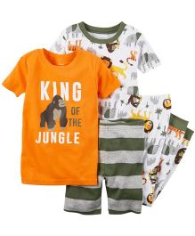 Carter's 4 Piece Snug Fit Cotton Nightwear - Orange And White