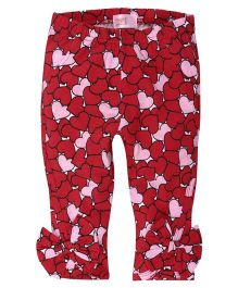 Babyoye Heart Printed Legging With Bow Applique - Red