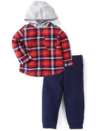 Carter's Full Sleeves Shirt With Hood And Pant Set - Multicolor