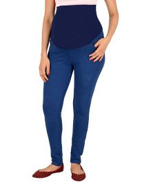 Kriti Western Maternity Solid Colour Jeggings - Navy Blue
