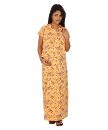 Kriti Comfort Knit Nursing Hospital Nighty  - Peach