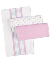 BabyPure Swaddling Sheet Pink And White - Pack Of 3