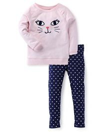 Carter's Full Sleeves Cat Print Top With Pant - Pink Blue