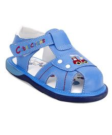 Clubs & Chicks Sandals With Velcro Closure Train Embroidery - Blue