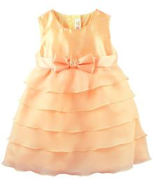 Babyoye Solid Pattern Sleeveless Dress with Bow - Peach