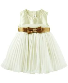 Babyoye Sleeveless Dress With Bow Embellishment - White