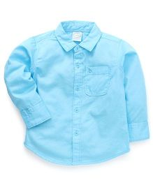 Babyhug Full Sleeves Solid Color Shirt - Aqua Blue