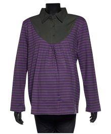 Uzazi Maternity Long Sleeves Striped Collar Top - Purple & Grey