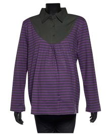 Uzazi Maternity Long Sleeves Striped Collar Top - Purple & Grey