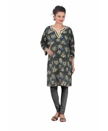 Uzazi Full Sleeves Printed Maternity Kurta - Olive Green & Navy
