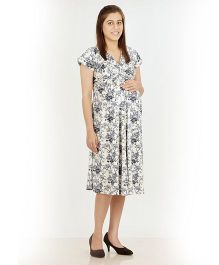 Uzazi Short Sleeves Maternity Dress Floral Print - White And Grey