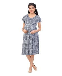 Uzazi Half Sleeves Maternity Dress Floral Print - Grey