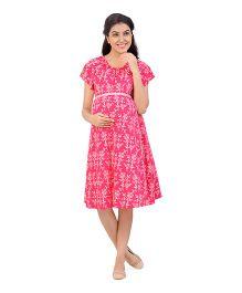 Uzazi Half Sleeves Maternity Dress Floral Print - Pink