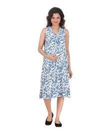 Uzazi Sleeveless Printed Maternity Dress - Blue And White