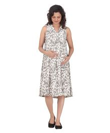 Uzazi Sleeveless Printed Maternity Dress - Grey And White