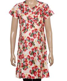 Uzazi Half Sleeves Floral Print Maternity Tunic - Red
