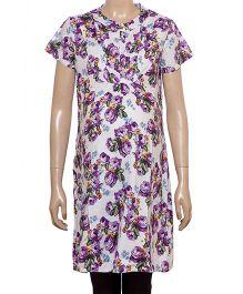 Uzazi Half Sleeves Floral Print Maternity Tunic - Violet And Purple