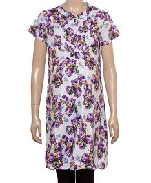 Uzazi Half Sleeves Floral Print Tunic - Violet And Purple