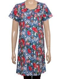 Uzazi Half Sleeves Floral Print Maternity Tunic - Blue And Red
