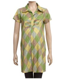Uzazi Half Sleeves Maternity Tunic Top With Geometric Print - Green