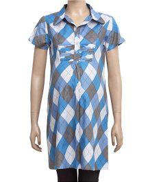 Uzazi Half Sleeves Maternity Tunic Top With Geometric Print - Blue