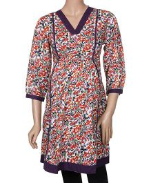Uzazi Long Sleeves Maternity Tunic Floral Print - Red And Purple