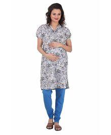 Uzazi Half Sleeves Maternity Kurti Floral Print - Grey