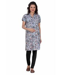 Uzazi Half Sleeves Maternity Kurti Floral Print - Light Blue